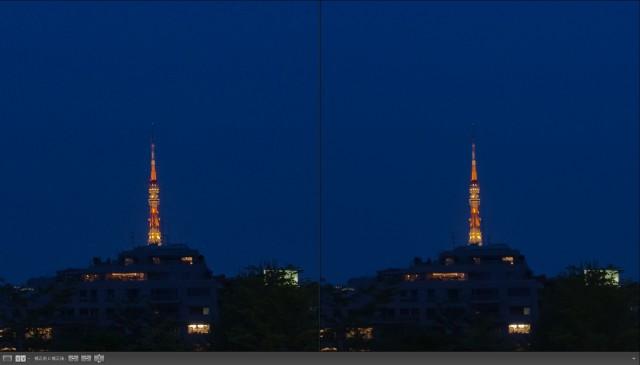 Lightroomのノイズ軽減処理比較(左 : LR2, 右 : LR3)