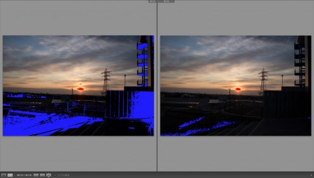 Lightroomの現像処理比較(左: LR3, 右: LR4)